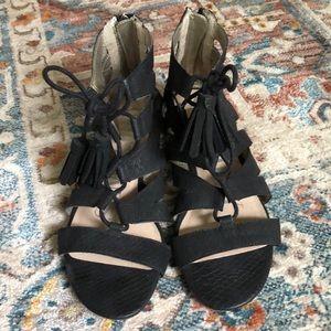 Sam & Libby Black Snake Tassel Gladiator Sandal